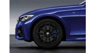BMW Winterkompletträder M Doppelspeiche 796 schwarz 18 Zoll RDCi 18 Zoll mit Bridgestone LM-001 RFT* für 3er G20 G21 4er G22